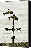 Dolphins Digital Art Canvas Prints - Dolphins Weathervane In Sepia Canvas Print by Ben and Raisa Gertsberg