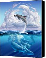 Dolphins Digital Art Canvas Prints - Dolphonic Symphony Canvas Print by Jerry LoFaro