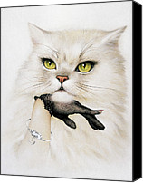 Stroking Canvas Prints - Domestic Cat, Conceptual Image Canvas Print by Smetek