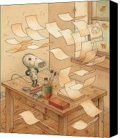Storm Canvas Prints - Domestic Wind Hairdryer Canvas Print by Kestutis Kasparavicius