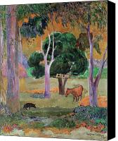 Dominican Canvas Prints - Dominican Landscape Canvas Print by Paul Gauguin