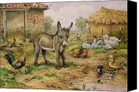Donkey Painting Canvas Prints - Donkey and Farmyard Fowl  Canvas Print by Carl Donner