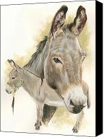 Donkey Mixed Media Canvas Prints - Donkey Canvas Print by Barbara Keith