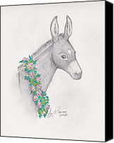 Donkey Mixed Media Canvas Prints - Donkey Bedecked Canvas Print by Amy Peare