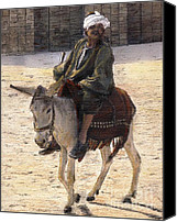 Donkey Mixed Media Canvas Prints - Donkey Rider in Cairo  Canvas Print by Randy Sprout