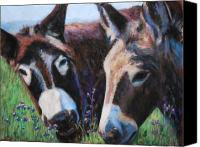 Donkey Pastels Canvas Prints - Donkey Tonk Canvas Print by Billie Colson