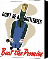 United States Mixed Media Canvas Prints - Dont Be A Bottleneck Canvas Print by War Is Hell Store