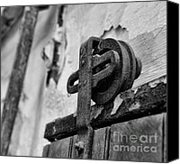 Rusty Door Canvas Prints - Door - Pulley - Black And White Canvas Print by Paul Ward