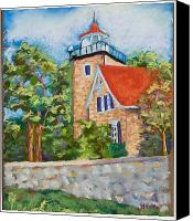 Great Pastels Canvas Prints - Door County Lighthouse Canvas Print by Pat Olson