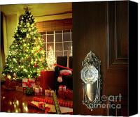 Door Canvas Prints - Door opening into a Christmas living room Canvas Print by Sandra Cunningham