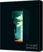 Cloud Digital Art Canvas Prints - Door To the World Canvas Print by Budi Satria Kwan