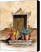 Door Canvas Prints - Door With Flower Pots Canvas Print by Sam Sidders