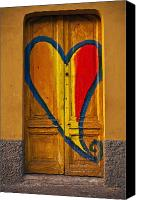 Old Wall Canvas Prints - Door With Heart Canvas Print by Joana Kruse