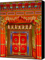 Tibetan Buddhism Canvas Prints - Doortibetan Temple China Canvas Print by Luis Castaneda Inc.