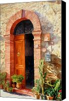 Potted Plants Painting Canvas Prints - Doorway In Tuscany number 2 Canvas Print by Bob Nolin