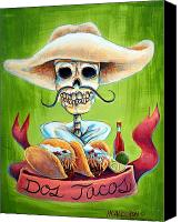 Dia De Los Muertos Canvas Prints - Dos Tacos Canvas Print by Heather Calderon
