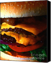 Junk Canvas Prints - Double Cheeseburger With Bacon - Painterly Canvas Print by Wingsdomain Art and Photography