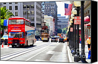 Powell Street Digital Art Canvas Prints - Double Decker Sightseeing Bus Along Powell Street In San Francisco California . 7D7269 Canvas Print by Wingsdomain Art and Photography