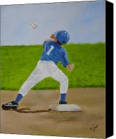 Baseball Painting Canvas Prints - Double Play Canvas Print by Joni McPherson