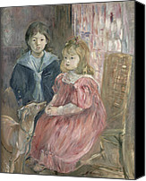 Whippet Canvas Prints - Double portrait of Charley and Jeannie Thomas Canvas Print by Berthe Morisot