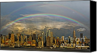 The City That Never Sleeps Canvas Prints - Double Rainbow Over NYC Canvas Print by Susan Candelario