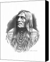 Native Drawings Canvas Prints - Double Runner Canvas Print by Lee Updike