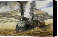 Train Painting Canvas Prints - Double Teamin to Cumbres Pass Canvas Print by Sam Sidders