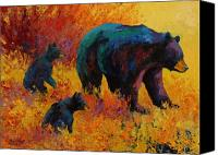 Animal Canvas Prints - Double Trouble - Black Bear Family Canvas Print by Marion Rose