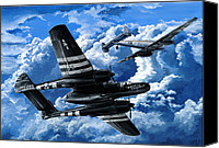 Air Plane Drawings Canvas Prints - Double Trouble Canvas Print by Charles Taylor