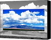 July Mixed Media Canvas Prints - Double View Sandia Mountain Canvas Print by Cindy McCann