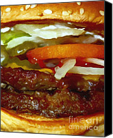 Junk Canvas Prints - Double Whopper With Cheese And The Works - Painterly Canvas Print by Wingsdomain Art and Photography