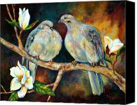 Tree Blossoms Canvas Prints - Doves and Magnolia Canvas Print by Peggy Wilson