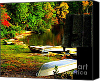 Sheds Canvas Prints - Down By the Riverside Canvas Print by Karen Wiles