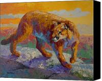 Mountain Lion Canvas Prints - Down Off The Ridge - Cougar Canvas Print by Marion Rose