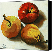 Linda Apple Canvas Prints - Down on Fruit - pears and apple still life Canvas Print by Linda Apple