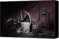 Stoneware Canvas Prints - Down on the Farm Still Life Canvas Print by Tom Mc Nemar