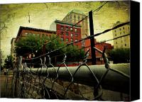 Barbed Wire Fences Digital Art Canvas Prints - Down the fence Canvas Print by Cathie Tyler