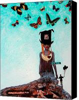 Woman Art Canvas Prints - Down The Rabbit Hole Canvas Print by Sharon Cummings