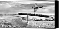 Raf Canvas Prints - Downfall of a 109 black and white version Canvas Print by Gary Eason