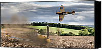 Raf Canvas Prints - Downfall of a 109 colour version Canvas Print by Gary Eason