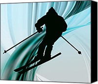 Teen Painting Canvas Prints - Downhill Skiing on Icy Ribbons Canvas Print by Elaine Plesser