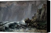 Raining Canvas Prints - Downpour at Etretat  Canvas Print by Gustave Courbet