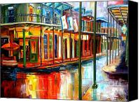 Red Canvas Prints - Downpour on Bourbon Street Canvas Print by Diane Millsap