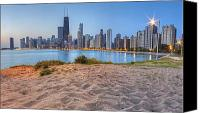 Sky Line Canvas Prints - Downtown Chicago from North Beach Canvas Print by Twenty Two North Gallery