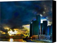 Urban Scenes Mixed Media Canvas Prints - Downtown Detroit at Dusk Canvas Print by Byron Fli Walker
