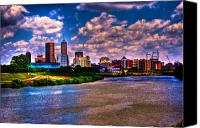 Surreal Landscape Canvas Prints - Downtown Indianapolis Skyline Canvas Print by David PixelParable