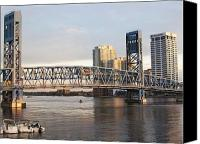 Florida Bridge Canvas Prints - Downtown Jacksonville Canvas Print by Tiffney Stevens