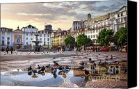 Houses Canvas Prints - Downtown Lisbon Canvas Print by Carlos Caetano