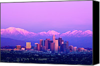 Lavender Canvas Prints - Downtown Los Angeles In Winter Canvas Print by Andrew Kennelly