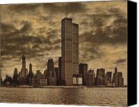 Cloud Digital Art Canvas Prints - Downtown Manhattan Circa Nineteen Seventy Nine  Canvas Print by Chris Lord